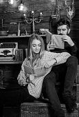 Soulful Evening Concept. Family Spend Pleasant Evening With Books, Interior Background. Girl And Man poster