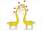 Vector illustration of giraffe couple in love on seamless nature background with copy space for Valentines Day and other occasions.