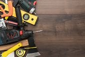 Construction Tools On Wooden Background. Different Tools With Copy Space. Diy Construction Tools On  poster