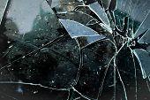 Broken Wet  Black Glass Dark  Background . Shards Of Glass poster