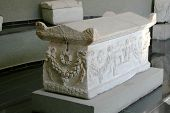 Ancient Marble Coffin In The Museum