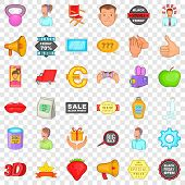 Advertising Around Us Icons Set. Cartoon Style Of 36 Advertising Around Us Icons For Web For Any Des poster
