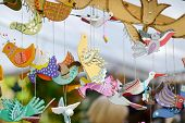 Cute Colorful Wooden Birds Sold On Easter Market In Vilnius. Lithuanian Capitals Traditional Crafts poster