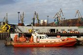 picture of murmansk  - Boat near pier in port Murmansk north Russia - JPG