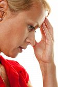pensive woman with headache