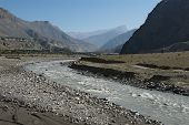 picture of kali  - Kali Gandaki river valley witn Himalayan mountains in the background - JPG