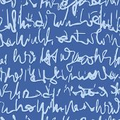 Handwritten Cursive Script Seamless Vector Pattern, Unreadable Handwriting Texture poster