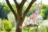 Two Cute Sisters Having Fun On A Swing In Blossoming Old Apple Tree Garden Outdoors On Sunny Spring poster