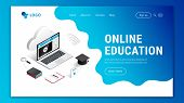Landing Page Web Design Template For Online Education. Modern 3d Isometric E-learning Web Site Conce poster