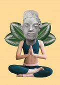 Keeping Calm And Concentration. Phycology Concept. Girl Sitting In Buddahs Position Headed By Statue poster
