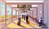 Busy People In Airport Lobby Flat Illustration. Happy People With Travel Bags And Suitcases Walk Aro poster