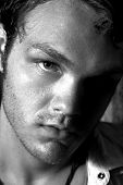 Black And White Close Up Of A Young Man