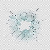 Broken Glass. Cracked Window Texture Realistic Destruction Hole In Transparent Damaged Glass. Vector poster