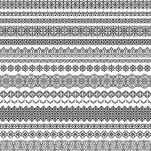 Vector Set Of Fancy Seamless Brushes In Oriental Motifs. For Frames, Boarders, Braid, Edging In The  poster