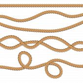 Set Of Different Ropes. String, Jute, Thread, Cord And Twisted Rope Knots. Nautical Yellow Rope Wove poster