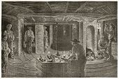 Miners dining underground, old illustration. Created by Neuville after Bonhomme, published on Le Tou