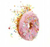 Sprinkled Pink Donut. Frosted Sprinkled Donut On White Background. Isolated poster