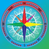 pic of compass rose  - Vector illustration of an compass on gradient background - JPG