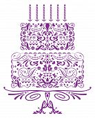 stock photo of ice-cake  - Iconic Birthday Cake with six Candles on a footed stand - JPG