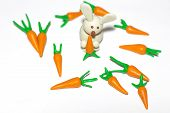 The White Rabbit Holds A Carrot In Its Paws. A Few Carrots Lie Around The Rabbit. The Composition Li poster