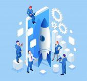 Isometric Businnes Startup For Web Page, Banner, Presentation, Social Media Concept Landing Page Des poster