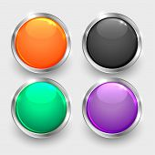 Set Of Shiny Round Glossy Buttons Vector Illustration poster