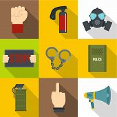 Human Protester Icon Set. Flat Style Set Of 9 Human Protester Icons For Web Design poster