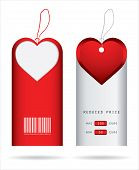 price tags with Valentine's Day design