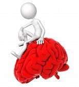 3D Person Sitting On Red Brain In A Thoughtful Pose