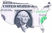 Usa Map Textured With One Dollar Note