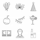 Bright Evening Icons Set. Outline Set Of 9 Bright Evening Icons For Web Isolated On White Background poster