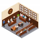 Law Justice Court Trial Isometric Composition With Courtroom Interior Defendant Lawyer Judge Officer poster