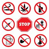 Stop Drugs.drugs Prohibition Sign Collection.no Smoking,no Marijuana,no Tobacco Pipe,no Alcohol,no B poster