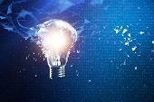 3d Illustration Exploding Light Bulb On A Blue Background, Concept Creative Thinking And Innovative  poster