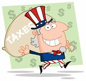 Uncle Sam Carrying A Taxes Bag