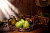 Green Pears On Old Country Farm Stand Wood Table