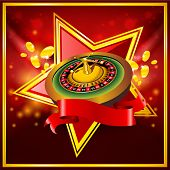 vector roulette wheel on red background with ribbon