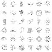 Meteorology Icons Set. Outline Style Of 36 Meteorology Icons For Web Isolated On White Background poster