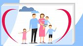 Big Happy Family. Big Family With Children Concept. Flat Cartoon Vector Illustration. Big Modern Fam poster