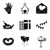 Pleasant Evening Icons Set. Simple Set Of 9 Pleasant Evening Icons For Web Isolated On White Backgro poster