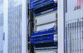 White Server Room Network Communications Server Cluster In Server Room. poster