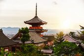 Kiyomizu-dera Buddhism Temple And Kyoto, Japan. poster
