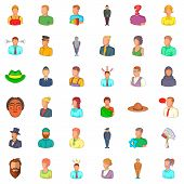 Occupation Icons Set. Cartoon Style Of 36 Occupation Icons For Web Isolated On White Background poster