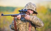 Hunting Season. Guy Hunting Nature Environment. Bearded Hunter Rifle Nature Background. Experience A poster