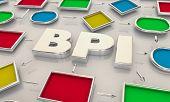 BPI Business Process Improvement Process Map Words 3d Illustration poster