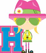 Cartoon H Is For Hippie Alphabet Learning Educational Illustration poster