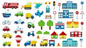 Set Of Cartoon Vector Transportation. Cute Cars: Police, Ambulance, Fire Engine, Truck, Bus. Road Si poster
