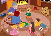 pic of rag-doll  - Granny is reading fairy tales to her grandchildren - JPG