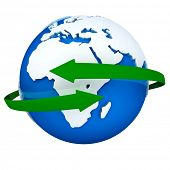 Two green arrows turning around a blue globe