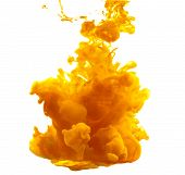 Ink In Water. Yellow Ink Splash Abstract Background. . Ink Swirling In Water. poster